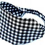 Wide Stretch Headband- Black Checke..