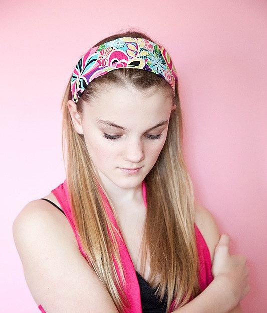 Wide Stretch Womens/Teens Headband, Colorful Fun Hairband, Stylish Bandana- Bright Rainbow Floral