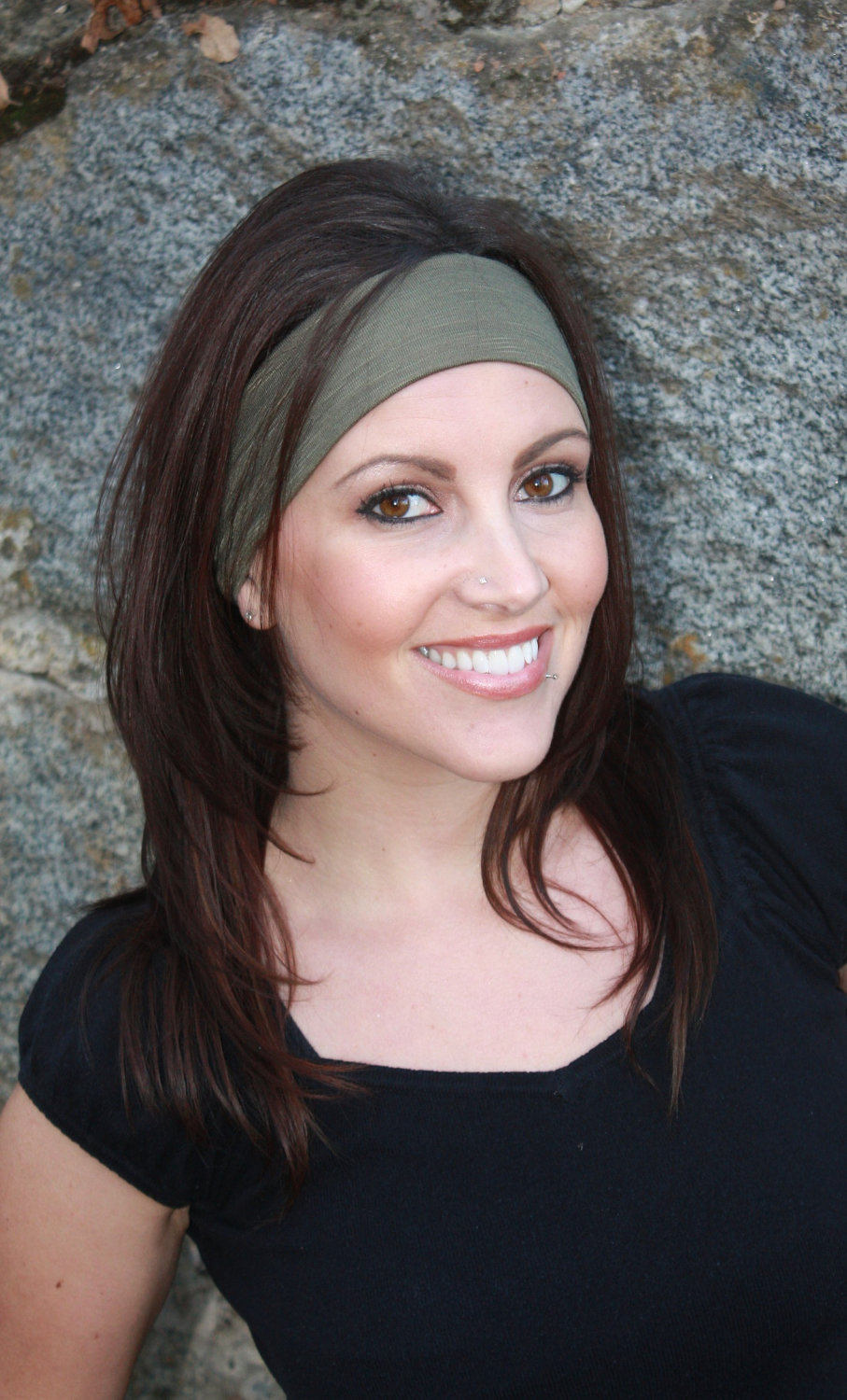 Super Soft Wide Stretch Knit Headband, Yoga Hairband, Unisex Bandana- Forest Green