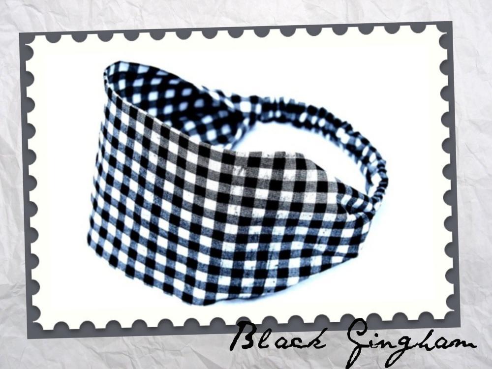 Wide Stretch Headband- Black Checked Gingham