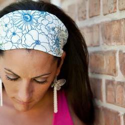 Wide Stretch Womens/Teens Headband- Stenciled Cobalt Blue Flowers