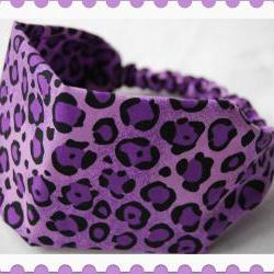 Girls Wide Stretch Headband- Purple Cheetah Print