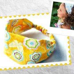 Girls Wide Stretch Headband- Yellow Fun Flowers